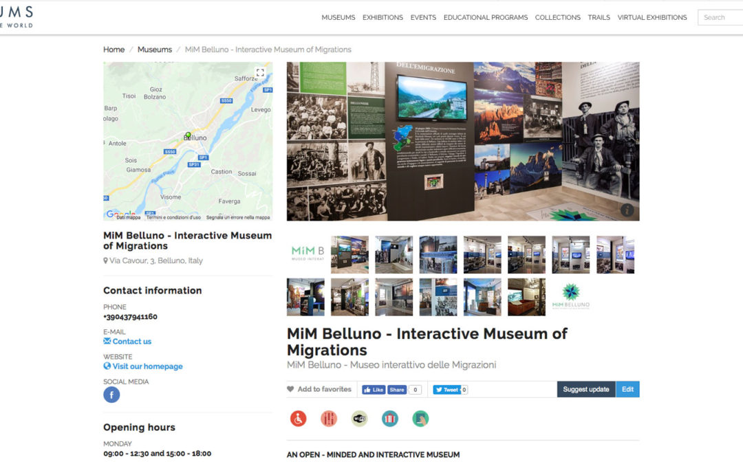 """Il MiM Belluno entra a far parte della rete di """"Museums of the world"""""""